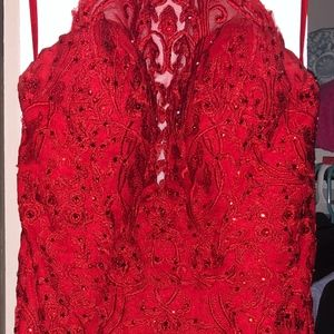 Mini Red Lace Homecoming/Prom Dress